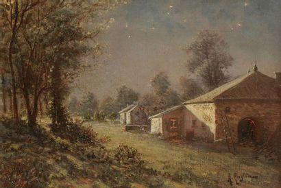 André ANGLADE (XIXe-XXe siècle) Village sous...