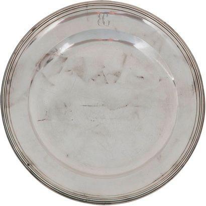 Suite de trois plats ronds en argent (950...