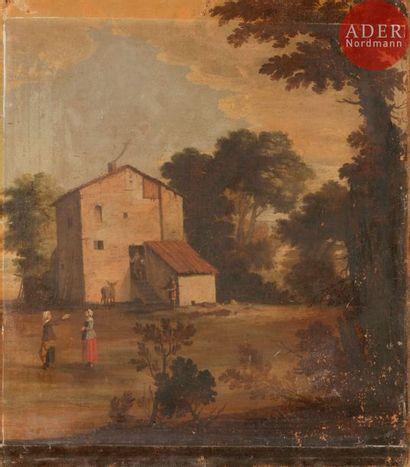 École HOLLANDAISE vers 1800 Paysage au moulin...