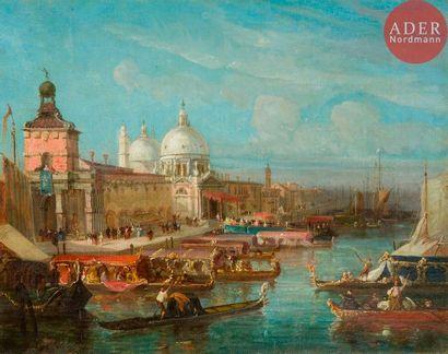 École FRANÇAISE du XIXe siècle Venise, bateau...