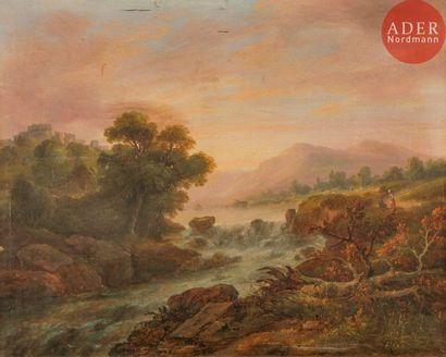 École ANGLAISE du XIXe siècle Paysage à la...