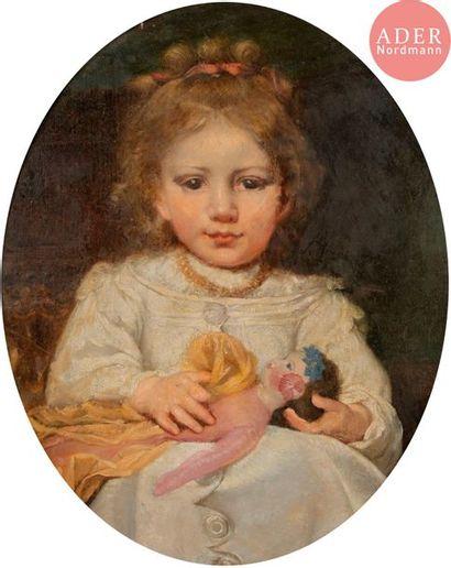 École FRANÇAISE vers 1850 Petite fille à...