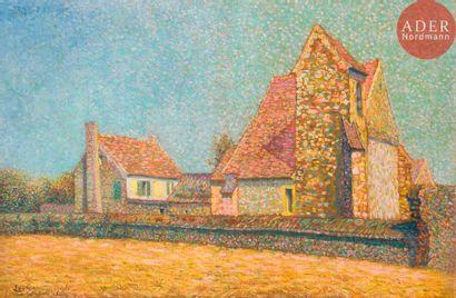 Léo GAUSSON (1860-1944) Ferme, 1909 Huile...