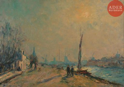 Albert LEBOURG (1849-1928) Canal en Hollande,...