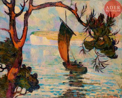 Pierre DUMONT (1884-1936) Bateau sur la mer...