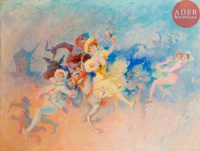 *Jules CHERET (1836-1932) Farandole à Montmartre,...