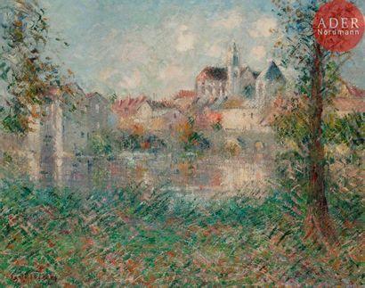 Gustave LOISEAU (1865-1935) Vue de Moret-sur-Loing,...