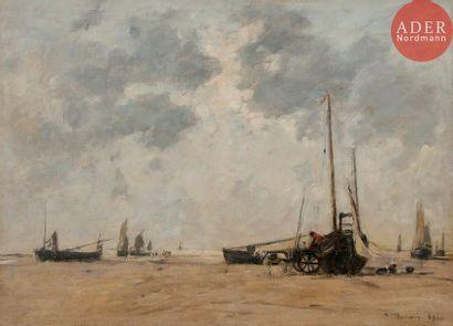 Eugène BOUDIN (1824-1898) Plage de Berck,...