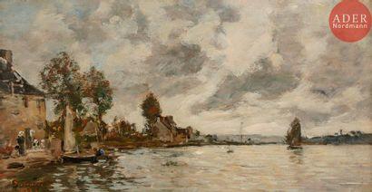 Eugène BOUDIN (1824-1898) La Rivière du Faou,...