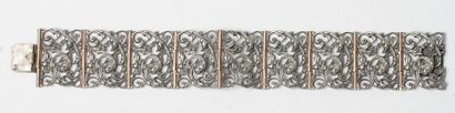 Bracelet articulé de 9 motifs en argent,...