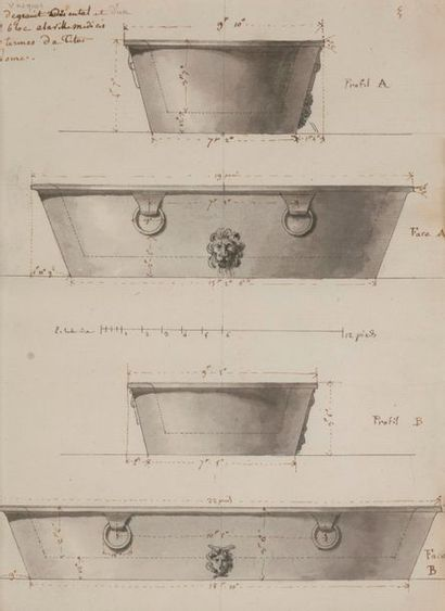École française néoclassique Vasques de granit...