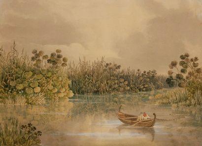 École anglaise du XIXe siècle Pêcheurs en...