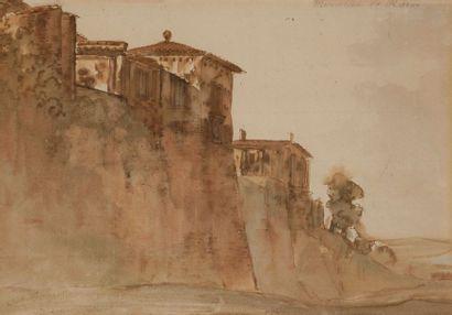 École française vers 1800 Vue d'Italie Plume...