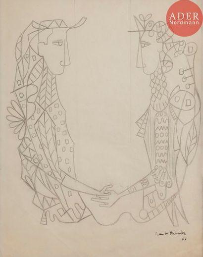 Cundo BERMUDEZ (1914-2008) Le Couple, 1964...