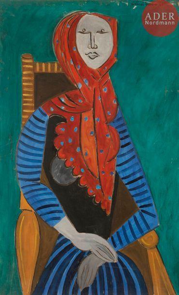 Marcel BURTIN (1902-1979) Femme au fauteuil,...