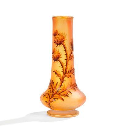 DAUM NANCY Chardons Petit vase oignon. Épreuve...