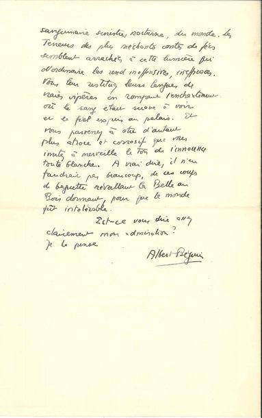 Albert BÉGUIN (1901-1957). L.A.S., Bâle 15...