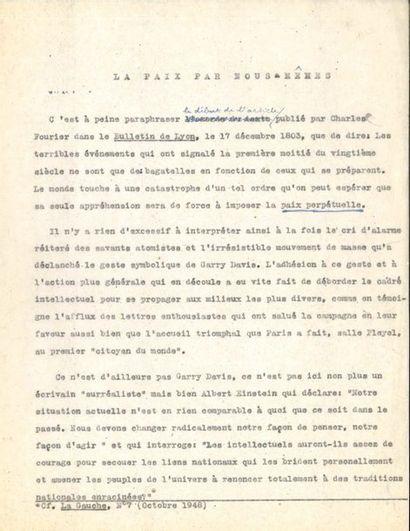 André BRETON (1896-1966). Tapuscrit avec...