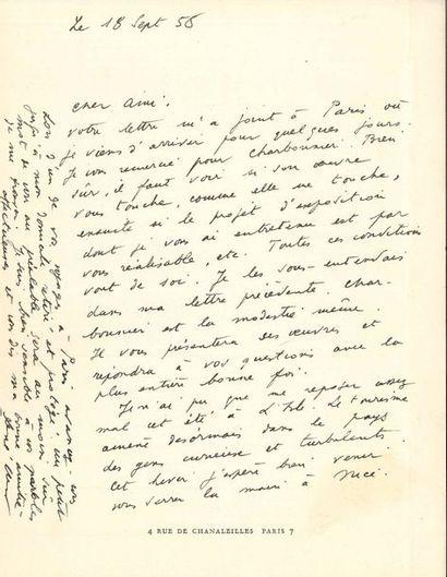 René CHAR (1907-1988). L.A.S., 18 septembre...