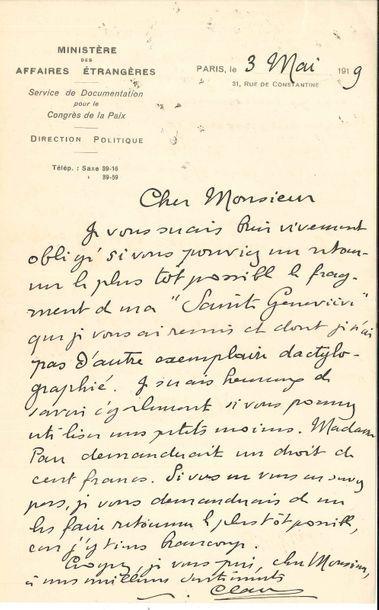 Paul CLAUDEL. 6 L.A.S., Paris 1919-1946;...