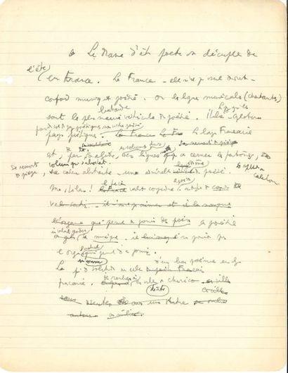 Jean COCTEAU (1889-1963). Manuscrit autographe;...