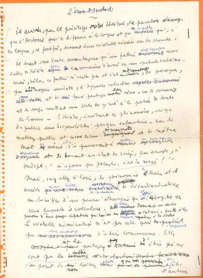 Jean COCTEAU. Manuscrit autographe, L'École...