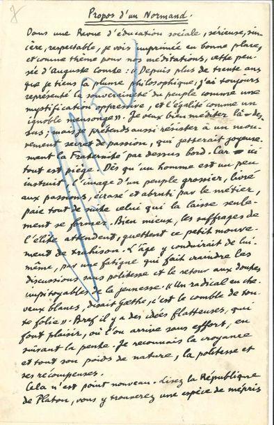 Émile Chartier dit ALAIN. Manuscrit autographe...