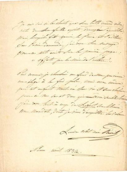 Louise COLET Poème autographe signé, Portrait,...