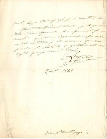 Louise COLET. L.A.S., Paris 2 août 1843,...