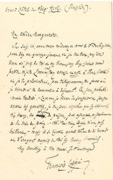 François COPPÉE (1842-1908). 4 L.A.S., [1890]-1907,...