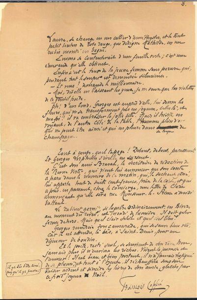 François COPPÉE. Manuscrit signé avec additions...