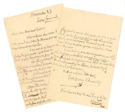 Jules BARBEY D'AUREVILLY (1808-1889). L.A.S.,...