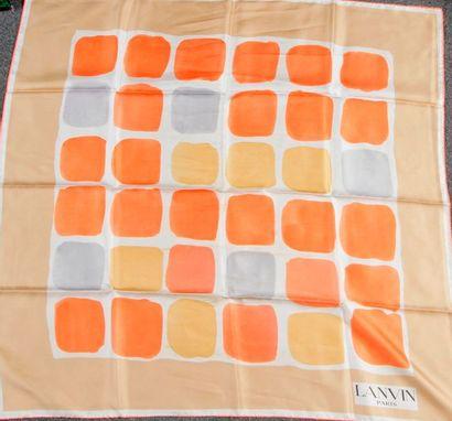 LANVIN. 4 foulards, 3 en soie et 1 en coton....