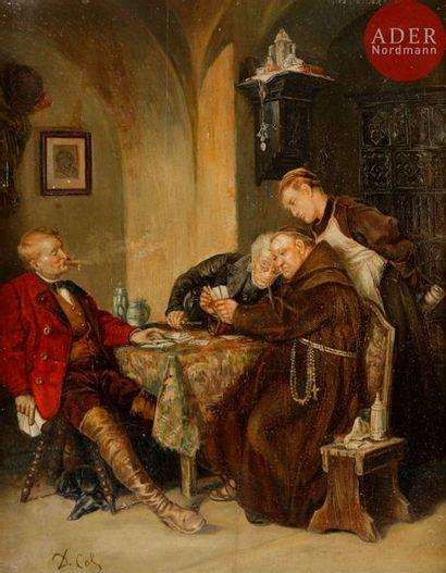Jan David COL (1822-1900) Partie de cartes...