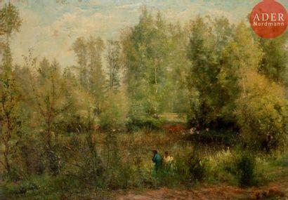 Émile RENARD (1850-1930) Bord d'étang animé,...