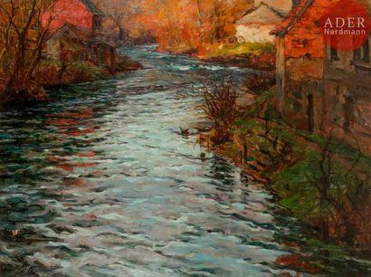 Louis Aston KNIGHT (1873-1948) Sur la rivière...