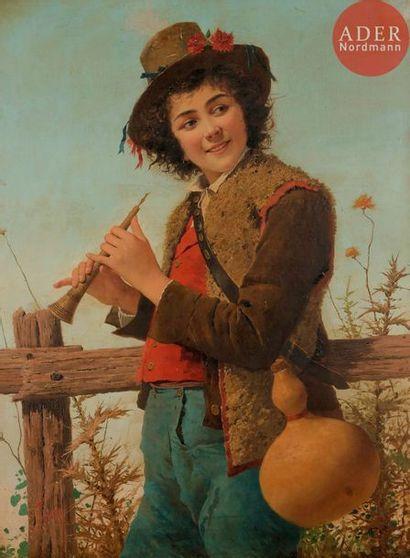 INDONI (XIXe siècle) Jeune berger au pipeau...