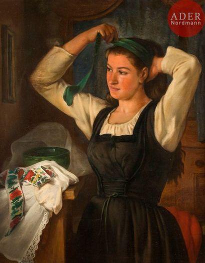 Léon MORICOURT (1830-?) Femme au fichu vert...