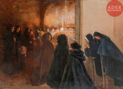 Norbert GOENEUTTE (1854-1894) Dans l'église,...