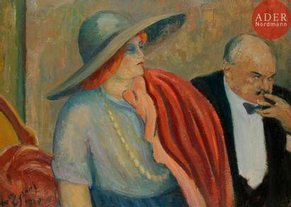 *Louis LEGRAND (1863-1951) Couple au théâtre,...