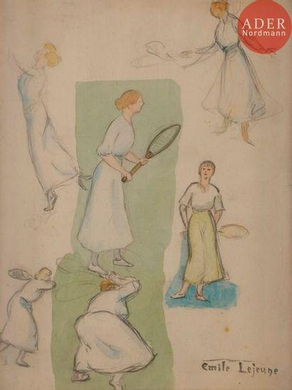*Émile LEJEUNE (1885-1964) Le Tennis Aquarelle...