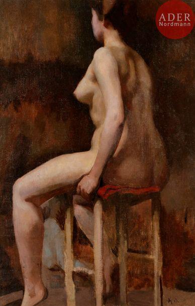 Léon BONNAT (1834-1922) Nu assis Huile sur...