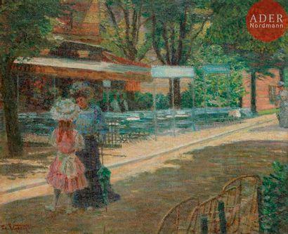Ludovic VALLÉE (1864-1939) Promenade au jardin...
