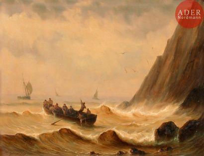 Henriette GUDIN (1825-1876) Barque accostant...