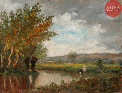Jules DUPRE (1811-1899) Vache s'abreuvant...