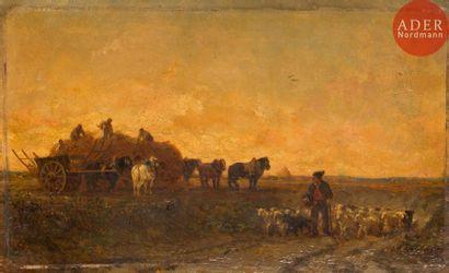 Jules Jacques VEYRASSAT (1828-1893) Les Moissonneurs...