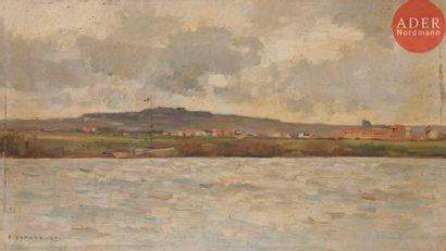 Emmanuel DAMOYE (1847-1916) Paysage fluvial,...