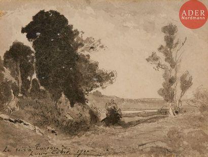 Louis CABIE (1853-1939) Le Soir à Tursac,...