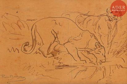 Rosa BONHEUR (1822-1899) Tigres s'abreuvant...