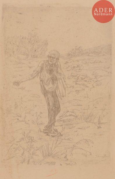 Félicien ROPS (1833-1898) Portrait de paysanne...